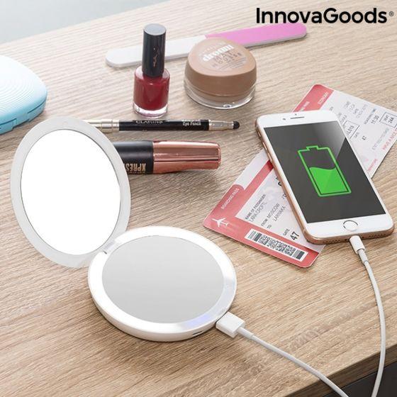 Džepno ogledalo s LED svjetlom i prijenosna baterija 3u1 Mirbat