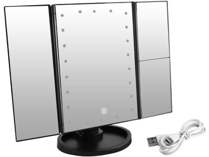 Veliko kozmetičko ogledalo s nagibom i LED 7870